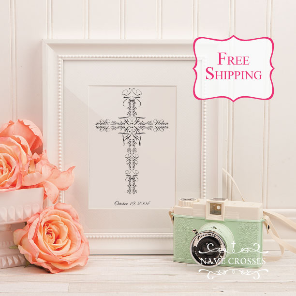 Personalized Wedding Cross for Couples created using Bride & Groom names by Name Crosses - www.namecrosses.com