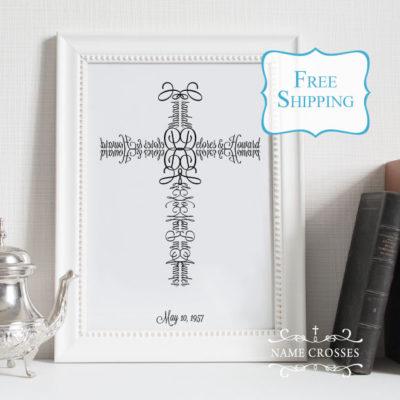 Anniversary Gift Personalized Cross art print by Name Crosses - www.namecrosses.com