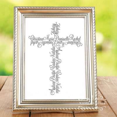 frame on a table with cross art